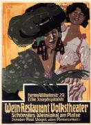 Vintage Wein Restaurant Volkstheater German Advertising Poster.